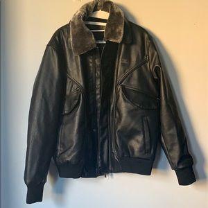 Emporio Armani & Co black leather bomber M